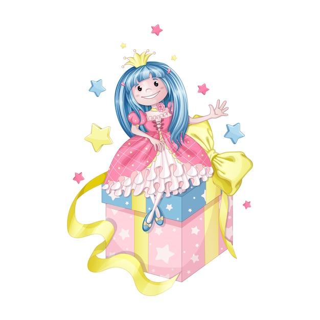 青い髪の小さなお姫様 Premiumベクター