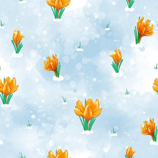 Бесшовный весенний образец с первыми цветами, которые расцветают под снегом. оранжевые тюльпаны. Premium векторы