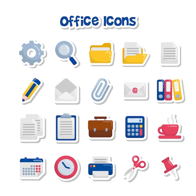 Наклейки на иконку милый мультфильм офис Premium векторы