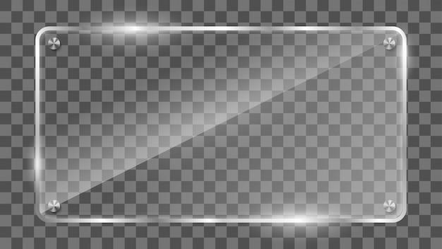 Прямоугольный стеклянный каркас, отражающий стеклянный баннер. Premium векторы