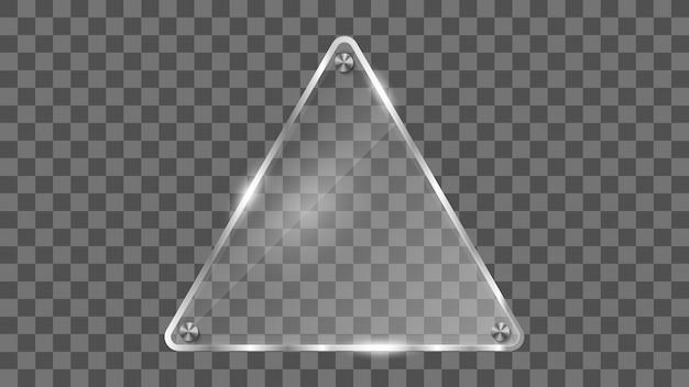 Треугольный стеклянный каркас, отражающий стеклянный баннер. Premium векторы