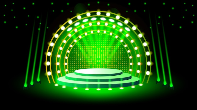 照明付きステージ表彰台 Premiumベクター