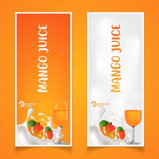 マンゴーフルーツ製品包装のイラスト Premiumベクター