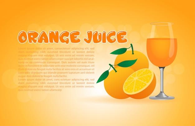 Реалистичный апельсиновый сок с текстовым шаблоном Premium векторы