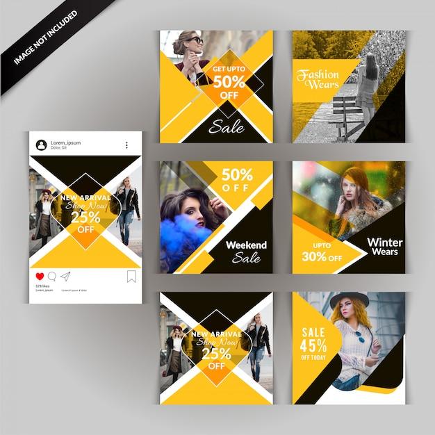 デジタルマーケティングのための黄色いファッションソーシャルメディア投稿 Premiumベクター