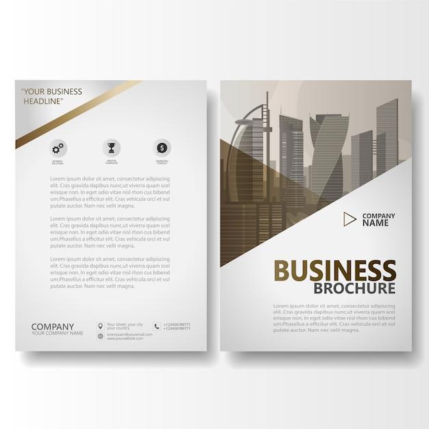 木製ブラウンビジネスパンフレット、年次報告書テンプレート Premiumベクター