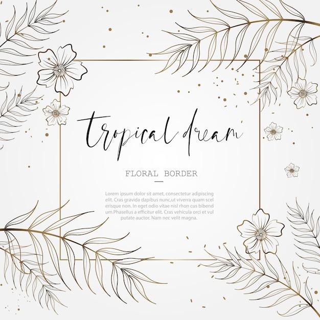 日付の結婚記念日カードのデザインを保存するための熱帯の花柄ボーダー Premiumベクター