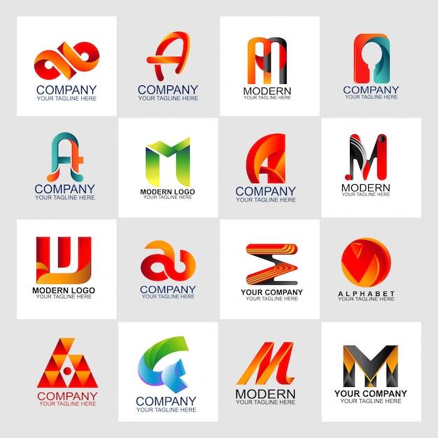 文字ロゴは抽象的なロゴのデザインテンプレートを設定 Premiumベクター