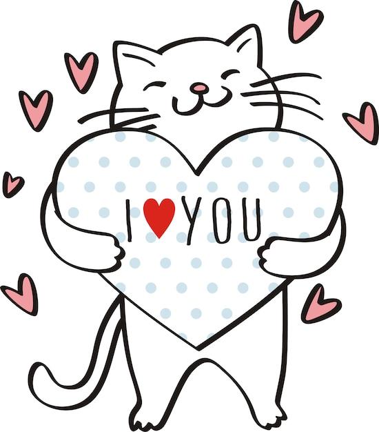 Я люблю тебя, милый кот иллюстрации вектор для детей Premium векторы