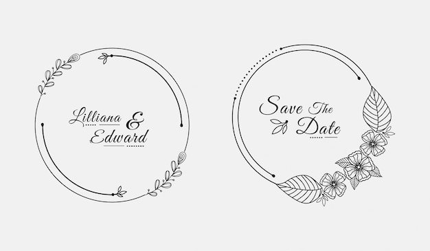 Обложка свадебного шаблона кругов Premium векторы