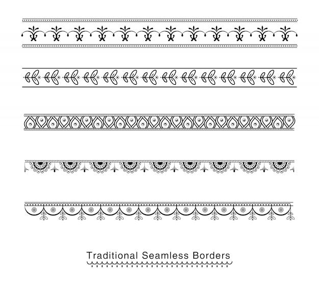 Дизайн бесшовных границ Premium векторы