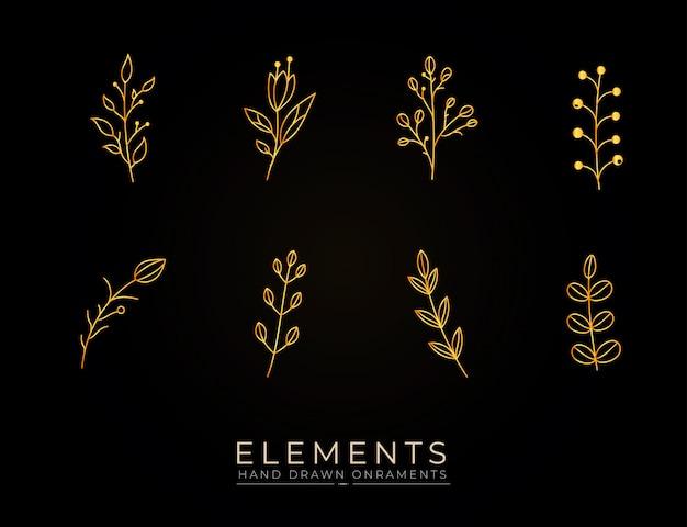 手描き植物ゴールデン要素コレクション Premiumベクター