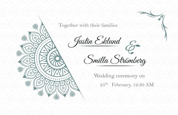 マンダラとエスニックスタイルの結婚式の招待カードテンプレート Premiumベクター