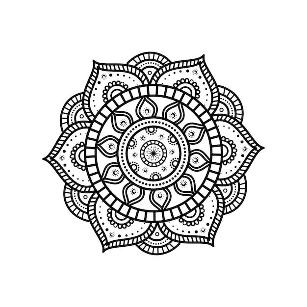 Цветок мандалы с цветочными деталями Premium векторы