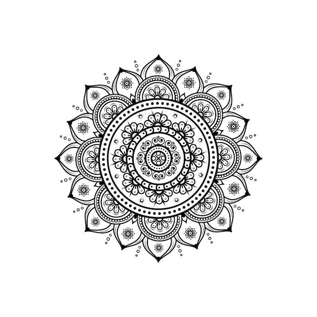 ヘナ&タトゥー装飾用のマンダラの形の円形パターン Premiumベクター
