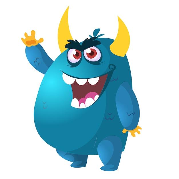 Злой мультфильм монстр. векторная иллюстрация Premium векторы