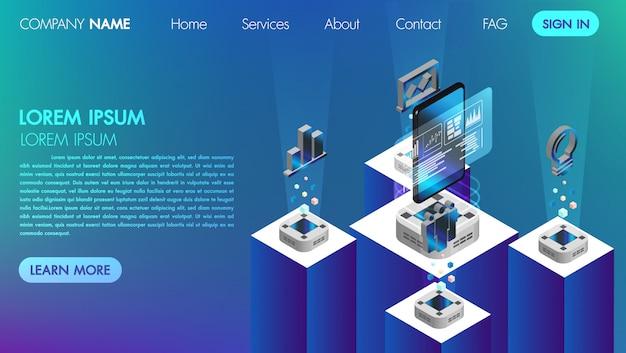 ランダンのページ。モックサイト技術等尺性ベクトル図とバーチャルリアリティビジネスコミュニケーションコンセプト Premiumベクター
