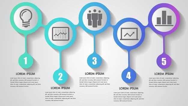 Векторный инфографический бизнес с пятью шагами Premium векторы