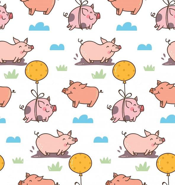 Мультяшный свинья бесшовные модели Premium векторы