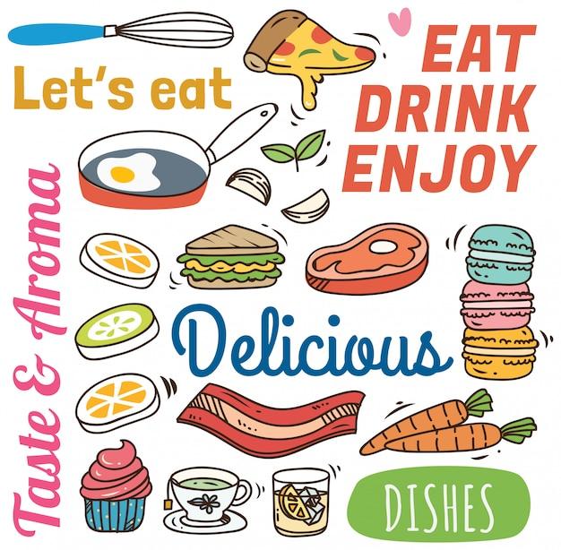落書きスタイルで様々な食品とレストランの背景。 Premiumベクター