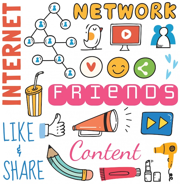 落書きスタイルの図のソーシャルメディアの背景 Premiumベクター