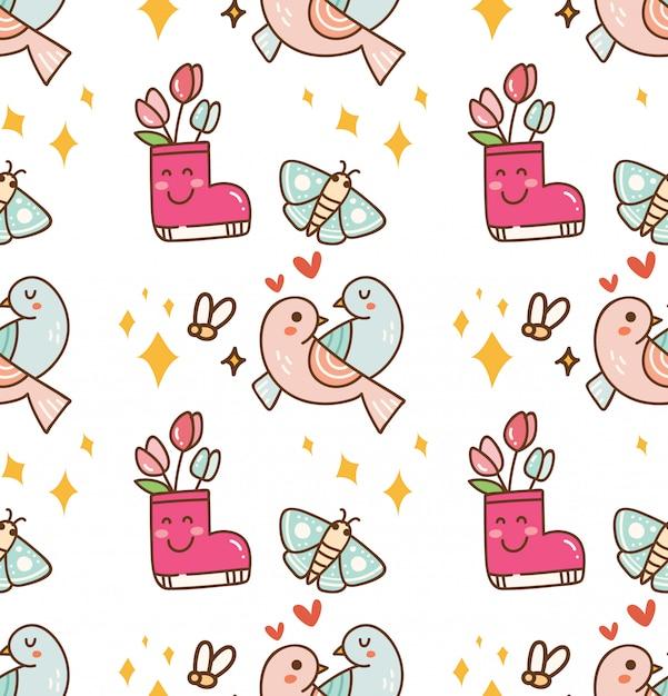 Пара птиц с цветочным фоном каваи Premium векторы