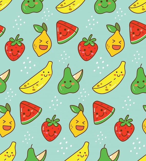 かわいいフルーツのシームレスパターン Premiumベクター