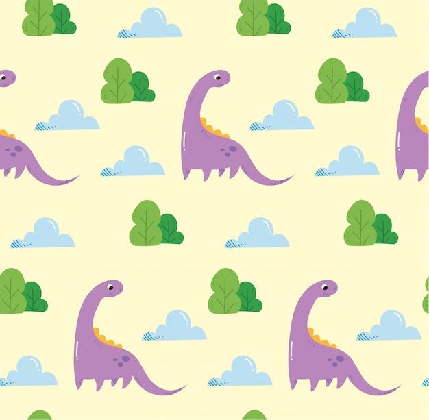 恐竜のカワイイスタイルでシームレスな背景 Premiumベクター