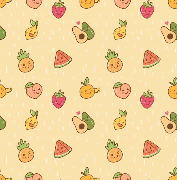 かわいいフルーツのシームレスな背景 Premiumベクター