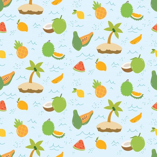 Летний узор с фруктами и островом Premium векторы