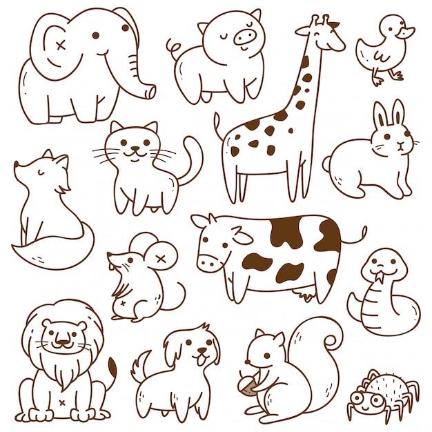 Набор животных каракули изолированных Premium векторы