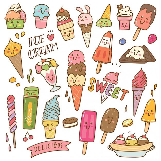 カワイイスタイルのアイスクリームのセット Premiumベクター