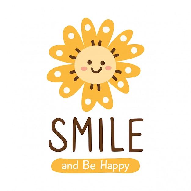 笑顔の花とかわいいデザイン Premiumベクター