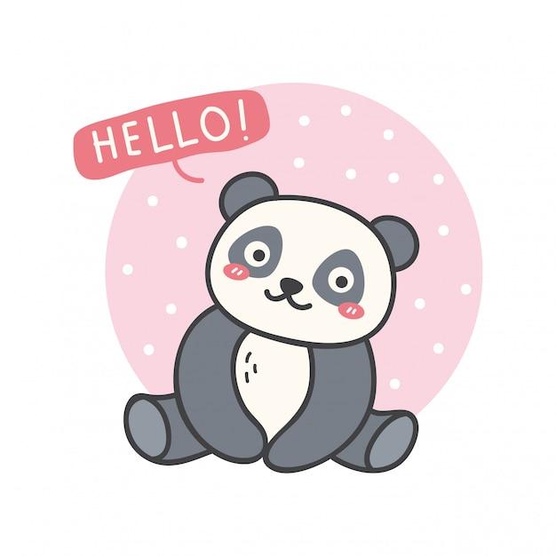 Милый дизайн с каваи панда Premium векторы