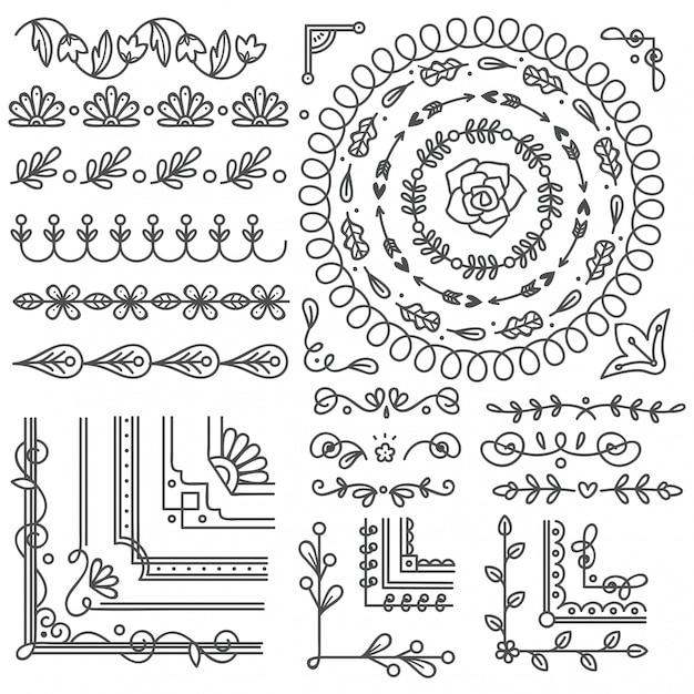 Ручной обращается границы и рамки, элемент дизайна свадебной открытки Premium векторы