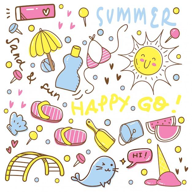 かわいい夏手描き落書きのセット Premiumベクター