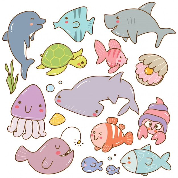 海の動物カワイイいたずら書きのセット Premiumベクター