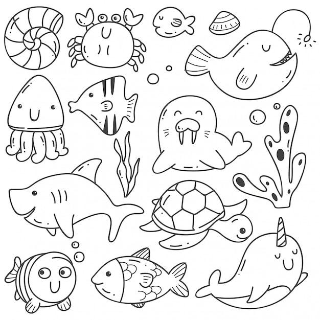 海の動物落書きカワイイラインアート Premiumベクター