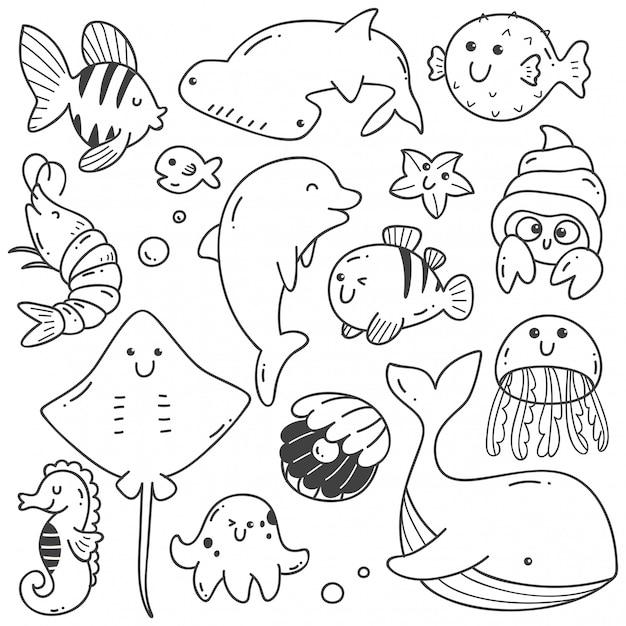Морские животные каракули каваи линии искусства Premium векторы