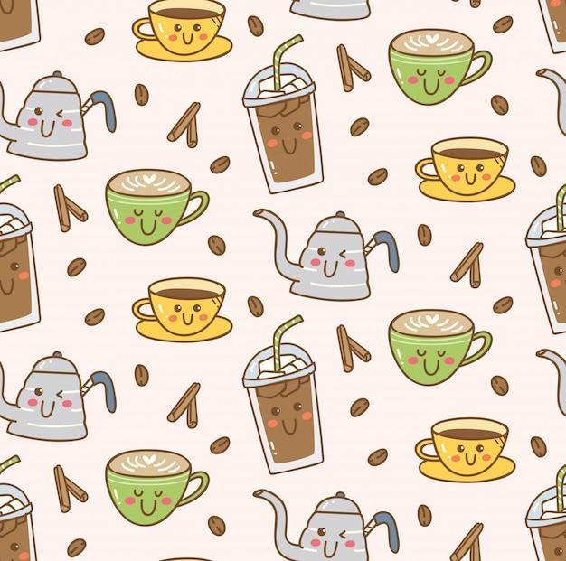 Каваи кафе бесшовного фона Premium векторы