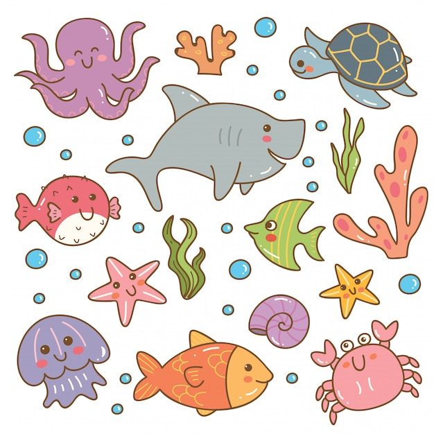 Набор морских животных каваи набор Premium векторы