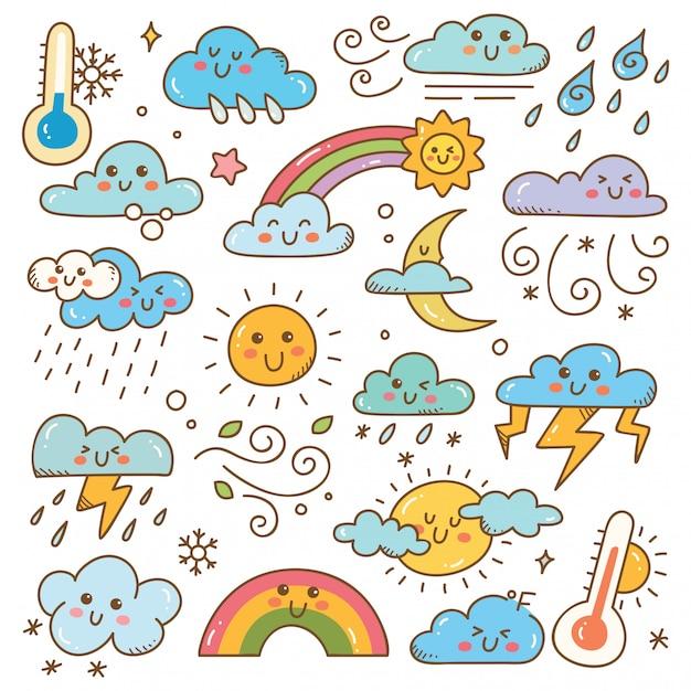 Набор погодных рисунков иллюстрации Premium векторы