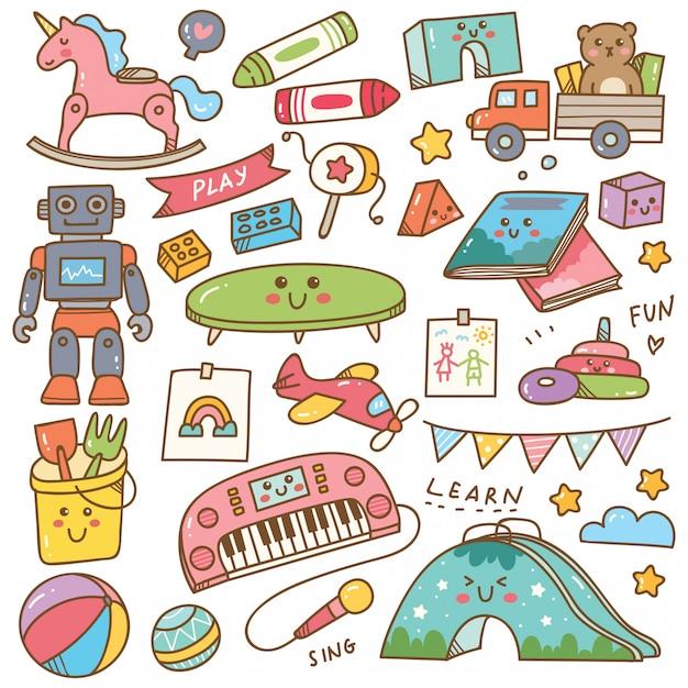 幼稚園のおもちゃと機器の落書きセット Premiumベクター