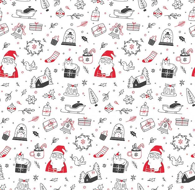 Симпатичные рождественские каракули бесшовные Premium векторы