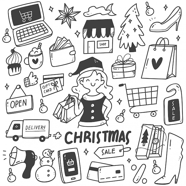 Набор рождественских распродаж каракулей Premium векторы