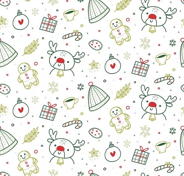 Симпатичные рождественские бесшовные в стиле каракули Premium векторы