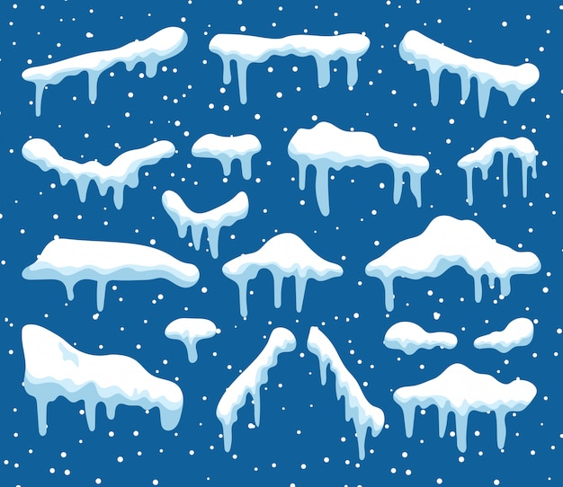 Набор элементов дизайна мультфильм снег Premium векторы