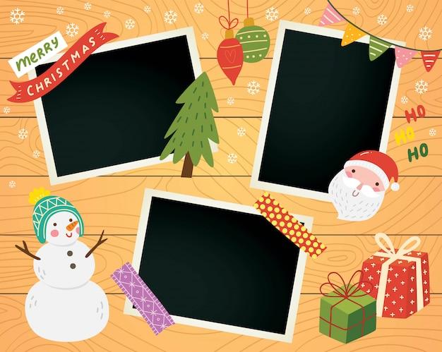 フォトフレームとクリスマススクラップブック Premiumベクター