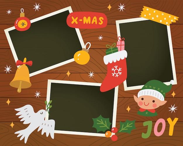 写真テンプレート付きのクリスマススクラップブック Premiumベクター
