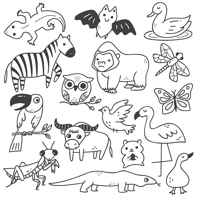 Набор животных каракули Premium векторы